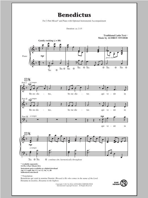 Partition chorale Benedictus de Audrey Snyder - 3 voix mixtes