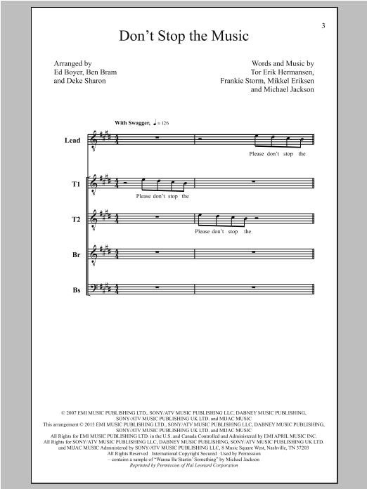 Don't Stop The Music (arr. Deke Sharon) (TTBB Choir)