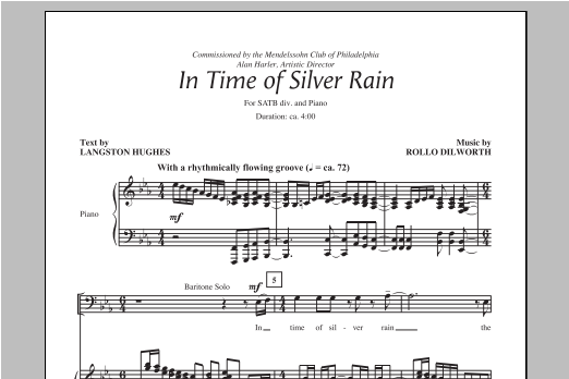 Partition chorale In The Time Of Silver Rain de Rollo Dilworth - SATB