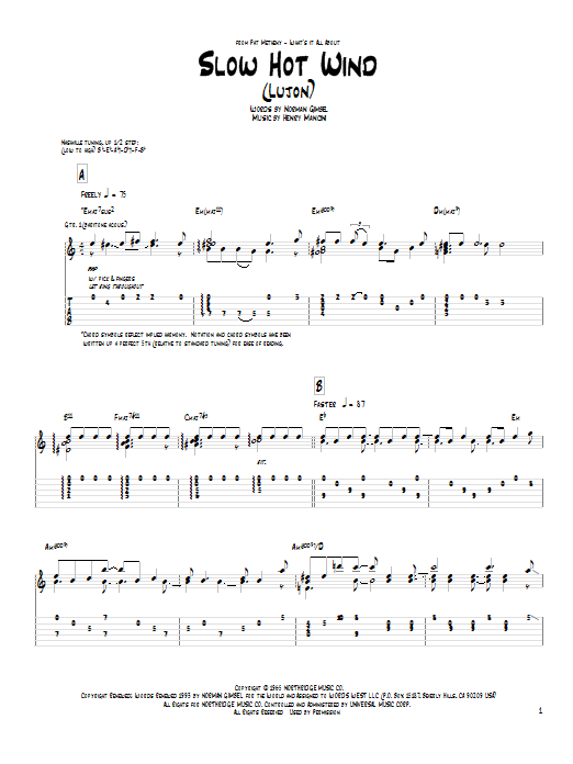 Tablature guitare Slow Hot Wind (Lujon) de Pat Metheny - Tablature Guitare