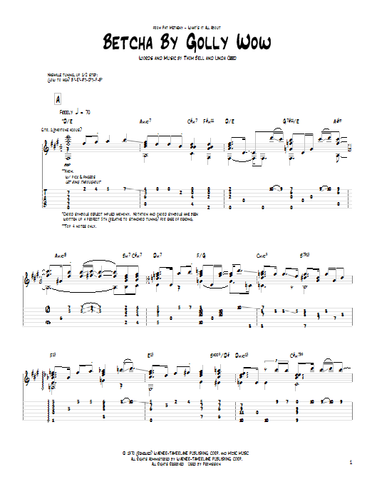 Betcha By Golly Wow Sheet Music
