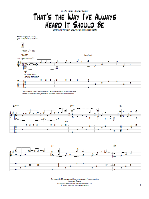 That's The Way I've Always Heard It Should Be (Guitar Tab)