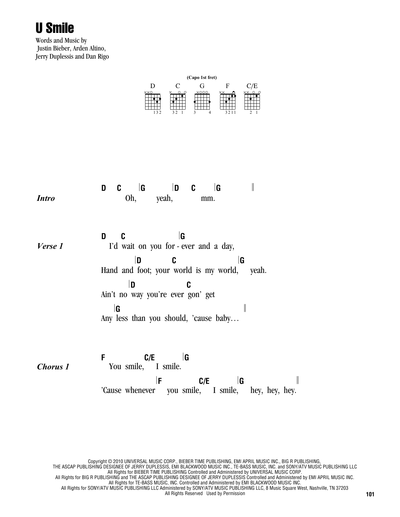U Smile Sheet Music
