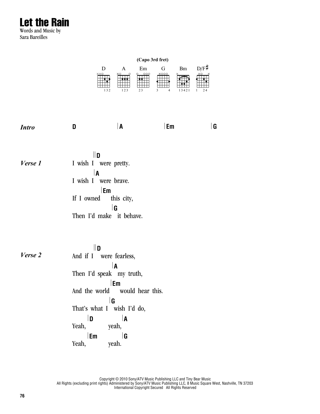 Let the rain sheet music by sara bareilles lyrics chords 163042 let the rain sheet music hexwebz Images