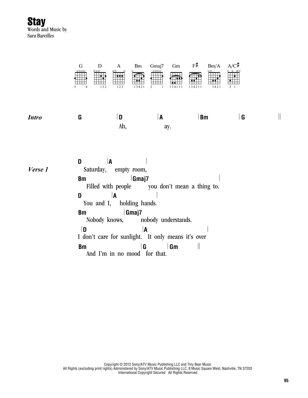 Stay (Guitar Chords/Lyrics)