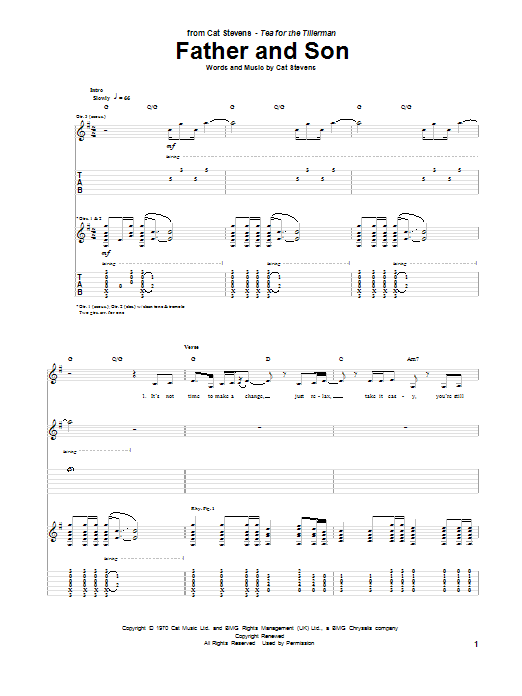 Tablature guitare Father And Son de Cat Stevens - Tablature Guitare