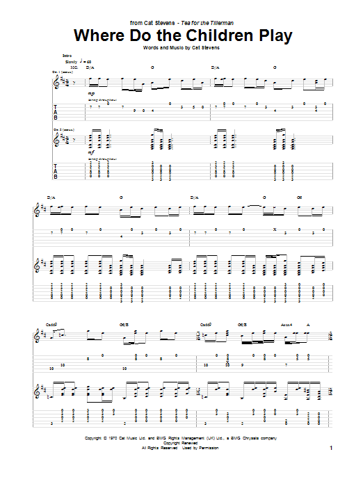 Tablature guitare Where Do The Children Play de Cat Stevens - Tablature Guitare