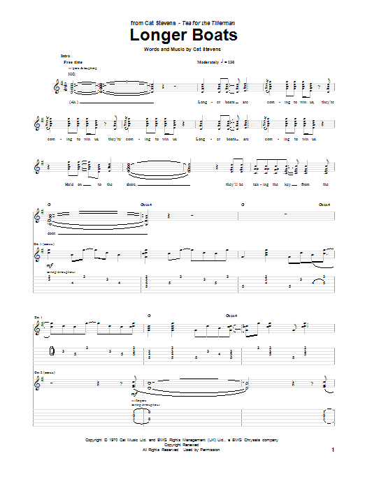 Longer Boats (Guitar Tab)
