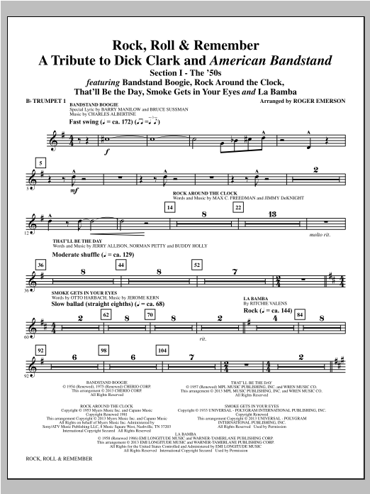 Rock, Roll and Remember (complete set of parts) sheet music for orchestra/band by Roger Emerson. Score Image Preview.