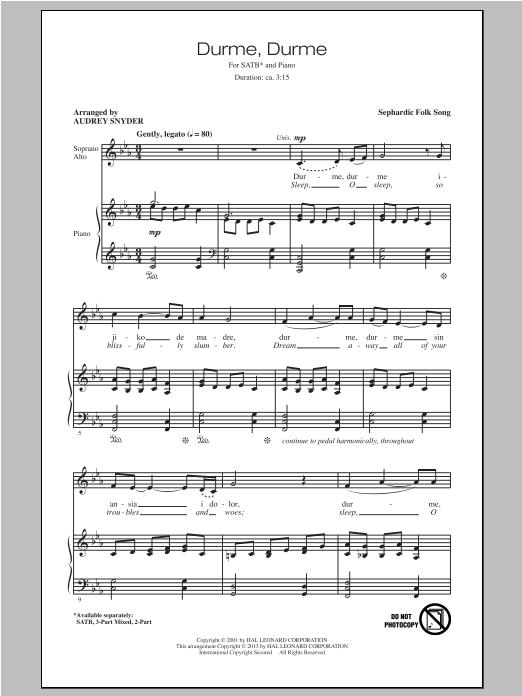 Partition chorale Durme, Durme de Audrey Snyder - SATB