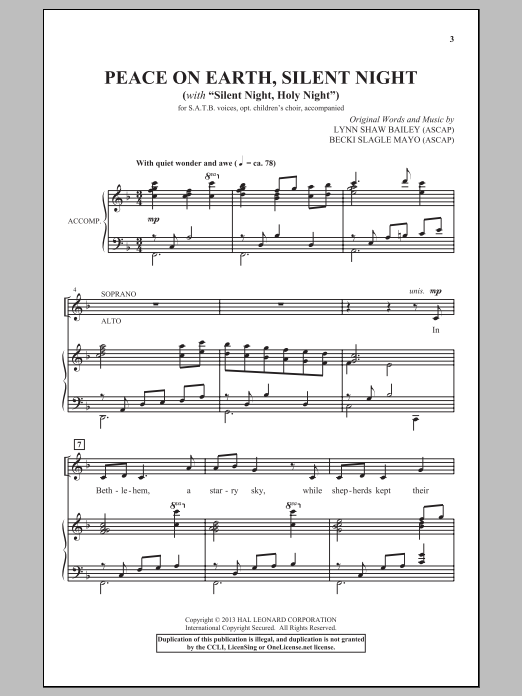 Peace On Earth, Silent Night (SATB Choir)