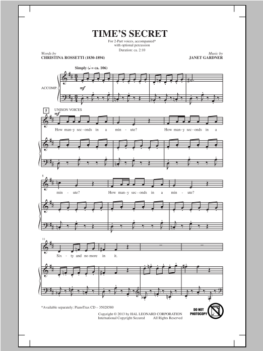 Time's Secret Sheet Music