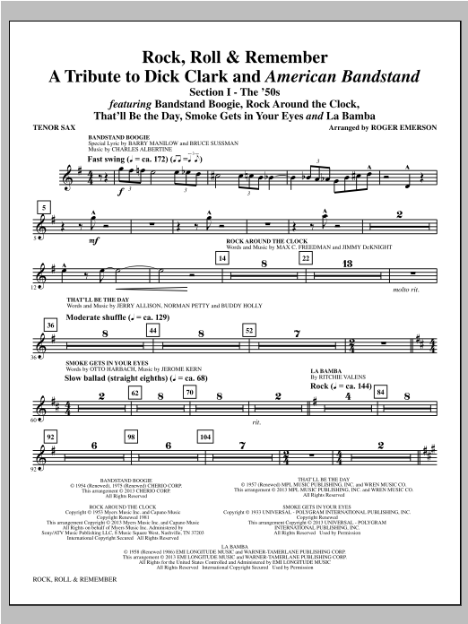 Rock, Roll & Remember - Bb Tenor Saxophone Sheet Music