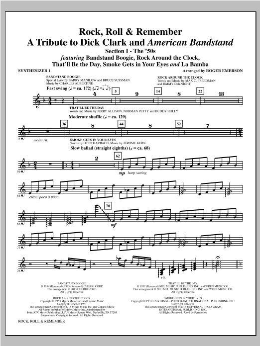 Rock, Roll & Remember - Synthesizer I Sheet Music