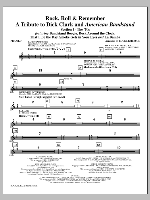 Rock, Roll & Remember - Piccolo Sheet Music
