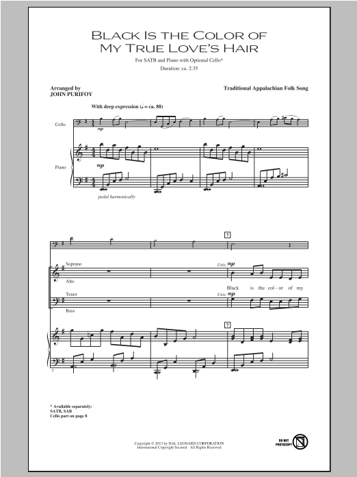 Partition chorale Black Is the Color of My True Love's Hair de John Purifoy - SATB