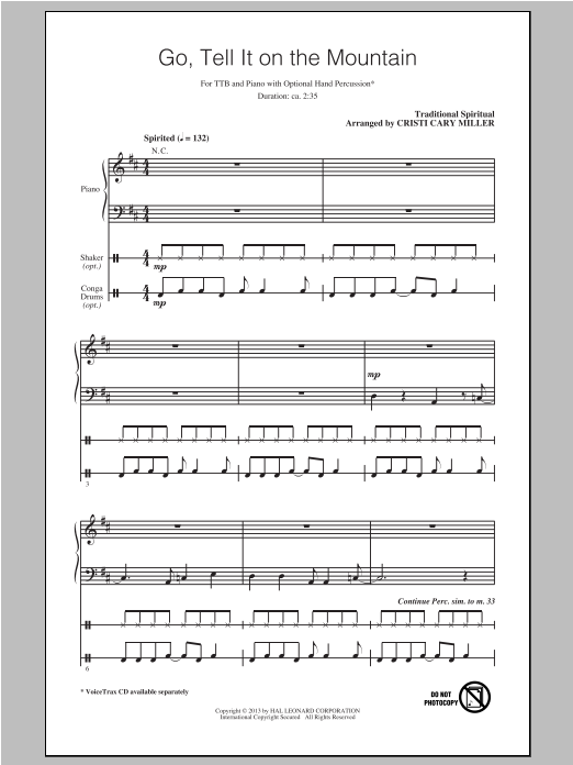 Go Tell It On The Mountain (arr. Cristi Cary Miller) Sheet Music