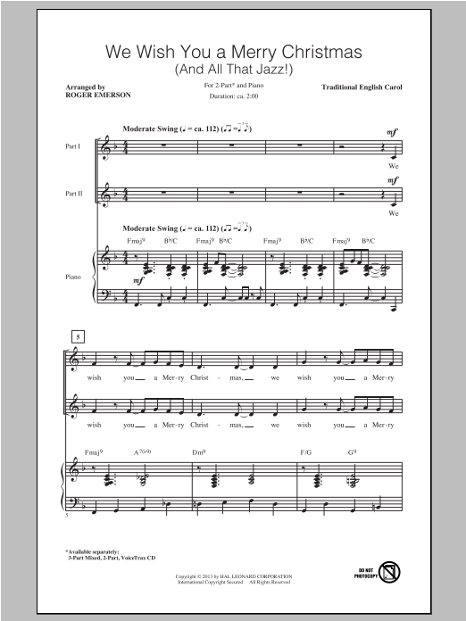 We Wish You A Merry Christmas (arr. Roger Emerson) Sheet Music