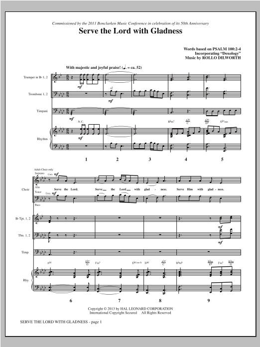 Serve the Lord with Gladness (COMPLETE) sheet music for orchestra/band by Rollo Dilworth. Score Image Preview.