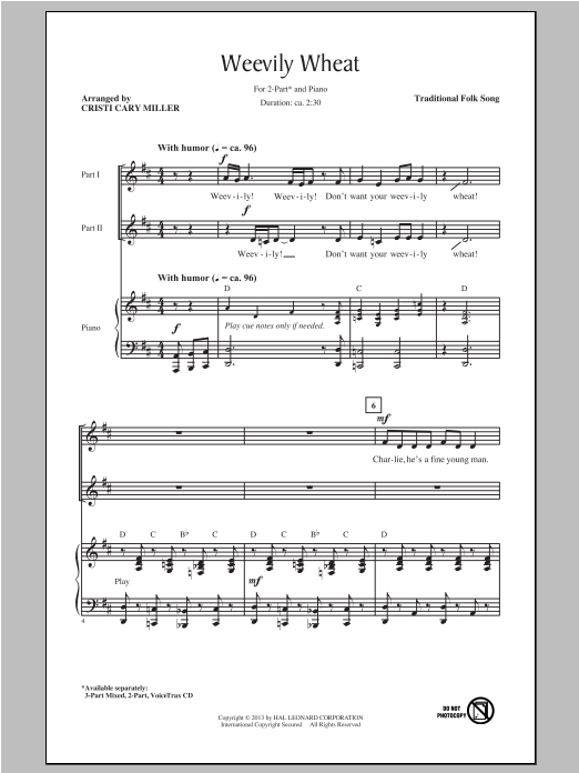 Weevily Wheat (arr. Cristi Cary Miller) Sheet Music