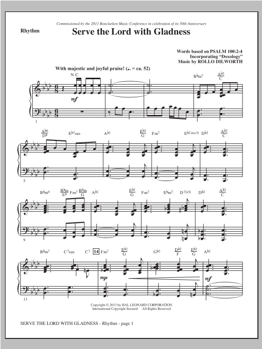 Serve the Lord with Gladness - Rhythm Sheet Music