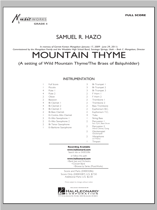Mountain Thyme (COMPLETE) sheet music for concert band by Samuel R. Hazo. Score Image Preview.