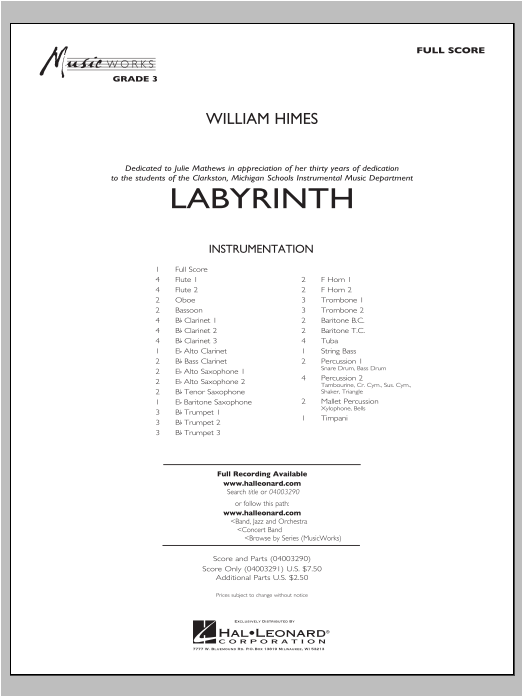 Labyrinth (COMPLETE) sheet music for concert band by William Himes. Score Image Preview.