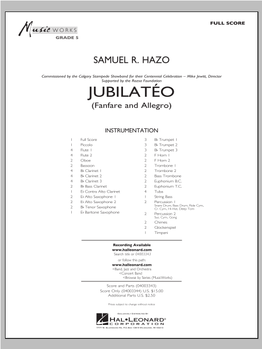 Jubilateo (COMPLETE) sheet music for concert band by Samuel R. Hazo. Score Image Preview.