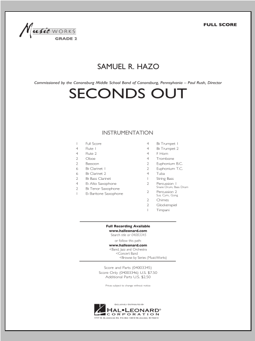 Seconds Out (COMPLETE) sheet music for concert band by Samuel R. Hazo. Score Image Preview.