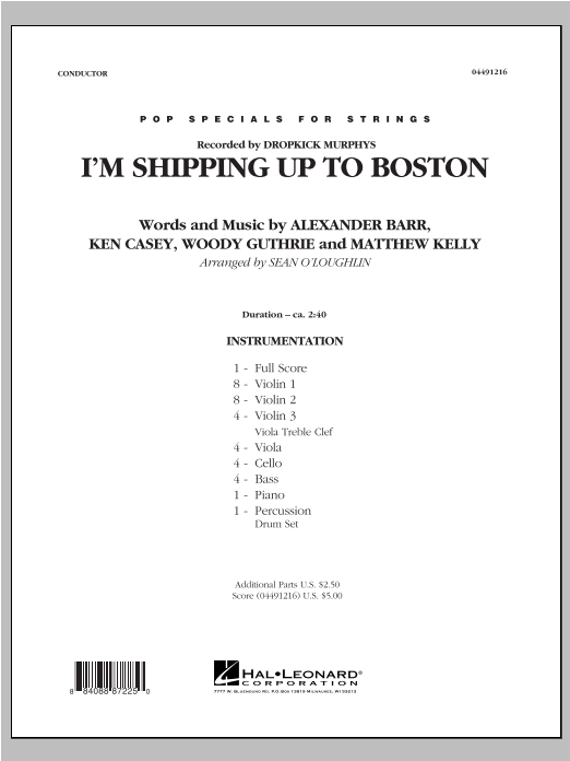 I'm Shipping Up To Boston (COMPLETE) sheet music for orchestra by Sean O'Loughlin. Score Image Preview.