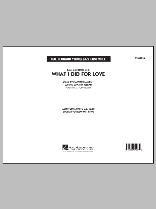 What I Did For Love - Conductor Score (Full Score) Sheet Music