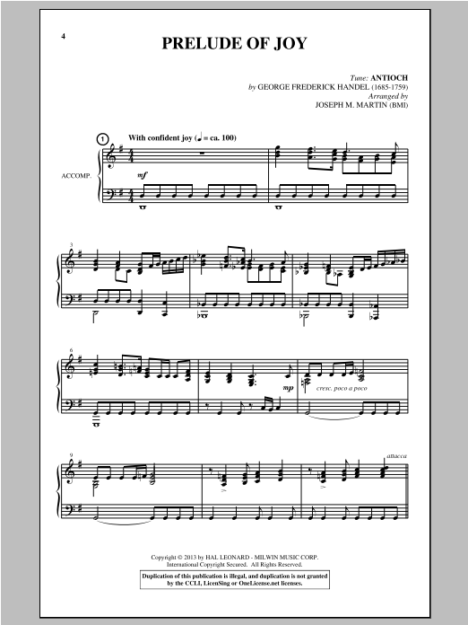 Prelude Of Joy (arr. Joseph M. Martin) Sheet Music