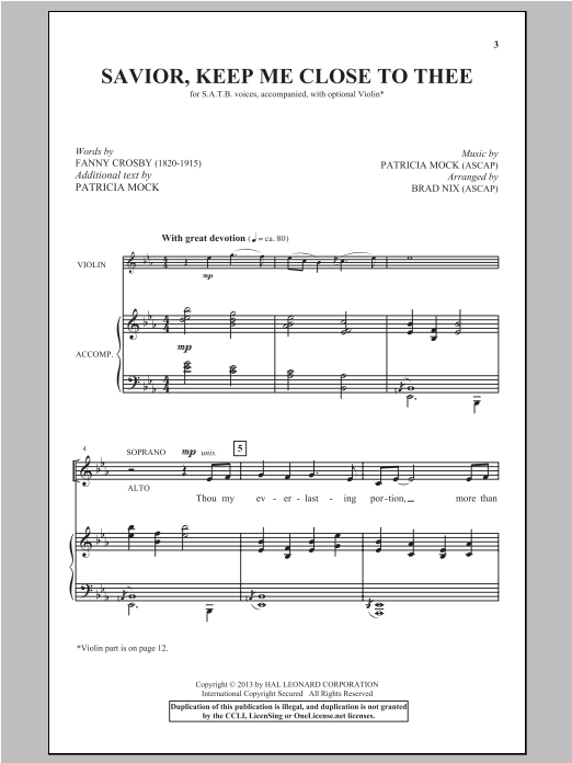 Savior, Keep Me Close To Thee Sheet Music