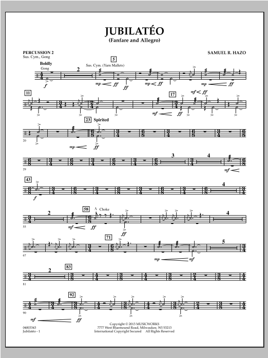 Jubilateo - Percussion 2 Sheet Music