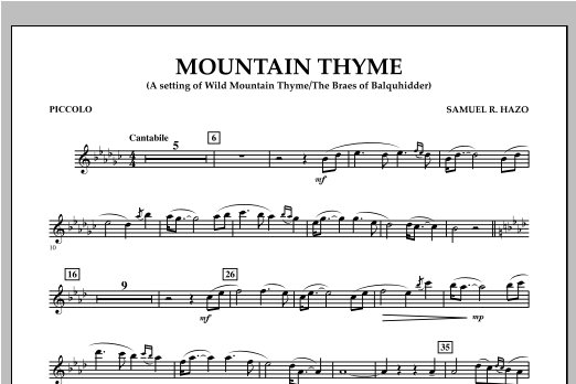 Mountain Thyme - Piccolo - Sheet Music to Download