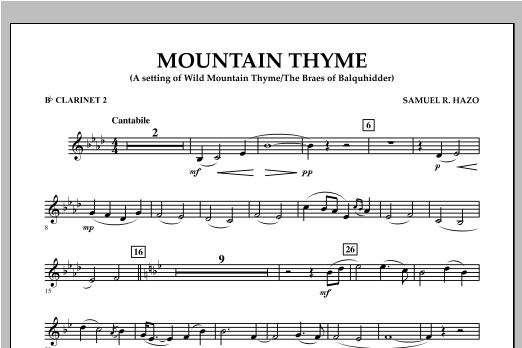 Mountain Thyme - Bb Clarinet 2 Sheet Music