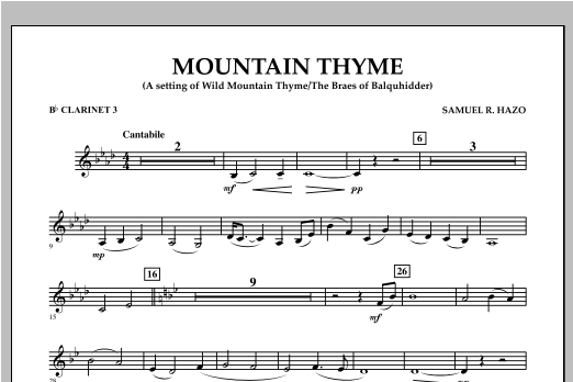 Mountain Thyme - Bb Clarinet 3 Sheet Music