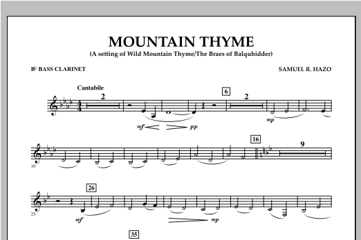 Mountain Thyme - Bb Bass Clarinet Sheet Music