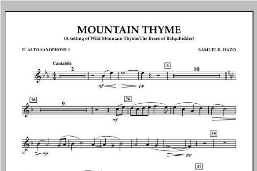 Mountain Thyme - Eb Alto Saxophone 1 Sheet Music