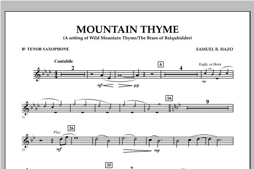 Mountain Thyme - Bb Tenor Saxophone Sheet Music