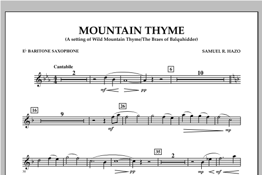 Mountain Thyme - Eb Baritone Saxophone Sheet Music