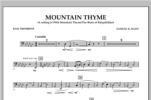 Mountain Thyme - Bass Trombone Partition Digitale