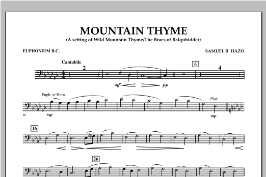 Mountain Thyme - Euphonium in Bass Clef Sheet Music