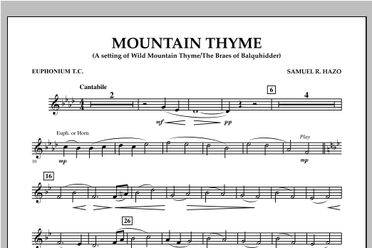 Mountain Thyme - Euphonium in Treble Clef Sheet Music