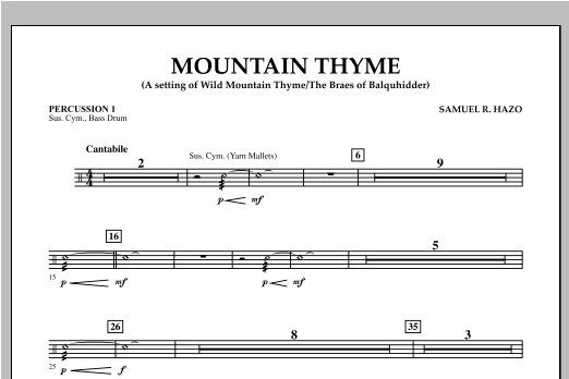 Mountain Thyme - Percussion 1 Sheet Music