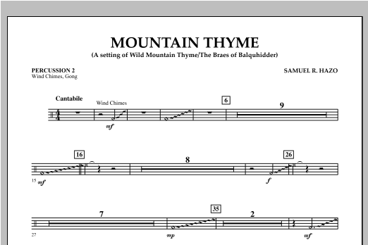 Mountain Thyme - Percussion 2 Sheet Music