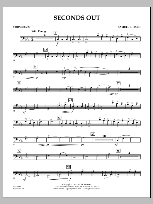 Seconds Out - String Bass Sheet Music