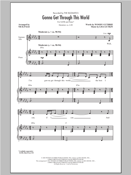 Gonna Get Through This World (arr. Nick Page) Sheet Music