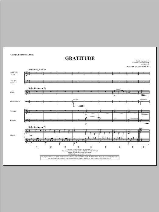 Gratitude - Score Sheet Music