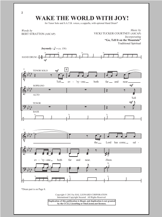 Partition autre Wake The World With Joy! de Vicki Tucker Courtney - SATB